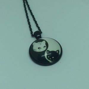 Jewelry - YIN-YANG CATS NECKLACE - Zen Kitty Cabochon Peace